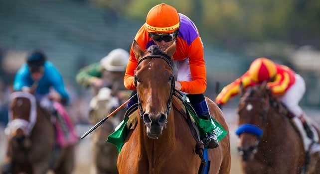 Beholder with jockey Garrett Gomez up wins the 2013 running of the Las Virgines Stakes at Santa Anita Park in Arcadia, California on March 02, 2013.