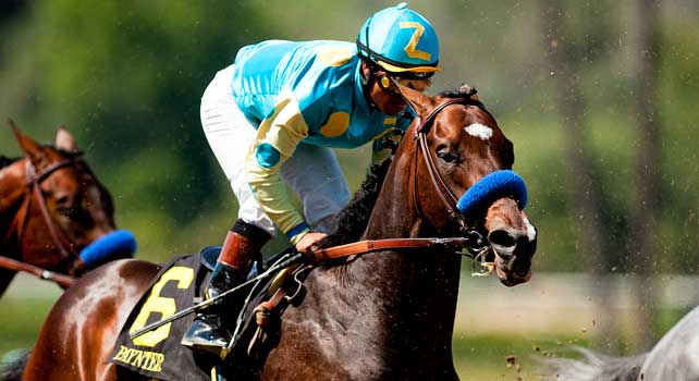 Paynter with Martin Garcia race in the 2012 Santa Anita Derby at Santa Anita Park in Arcadia California on April 7, 2012.