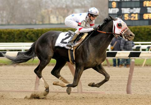 4 April 2009: Jockey Joe Talamo guides I Want Revenge to victory in the Wood Memorial Stakes at Aqueduct Race Track in Jamaica, New York.