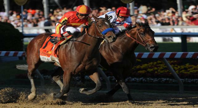15 May 10: Lookin At Lucky (7) and jockey Martin Garcia win the Preakness at Pimlico Race Course in Baltimore, Maryland on Preakness Day.