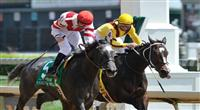 30 April 2010: Unrivaled Belle with Kent Desormeaux up just gets up at the wire to upset favorite Rachel Alexandra with Calvin Borel up in the G2 La Troienne Stakes at Churchill Downs in Louisville, Kentucky.
