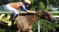 Zagora (no. 4), ridden by Javier Castellano and trained by Chad Brown, wins the 73rd running of the grade 1 Diana Stakes for fillies and mares three years old and upward on July 30, 2011 at Saratoga Race Track in Saratoga Springs, New York. (Bob Mayberger/Eclipse Sportswire)