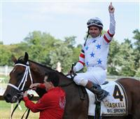 Kent Desormeaux celebrates after winning the 2008 Haskell aboard Big Brown