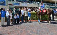 Social Inclusion in the Winners Circle after his win in a Maiden Special Weight race at Gulfstream Park.