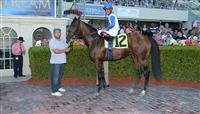 Smooth Daddy in the Winners Circle after a Maiden Special Weight race at Gulfstream Park.