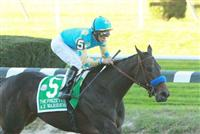 "10 09 2010: A Z Warrior & Alan Garcia win the 63rd running of the Grade I Frizette Stakes for 2-year olds fillies at 1 mile, a ""Win qnd You're In Breeders Cup"", Belmont Park, Elmont, NY. Trainer Bob Baffert. Owners Zayat Stables"