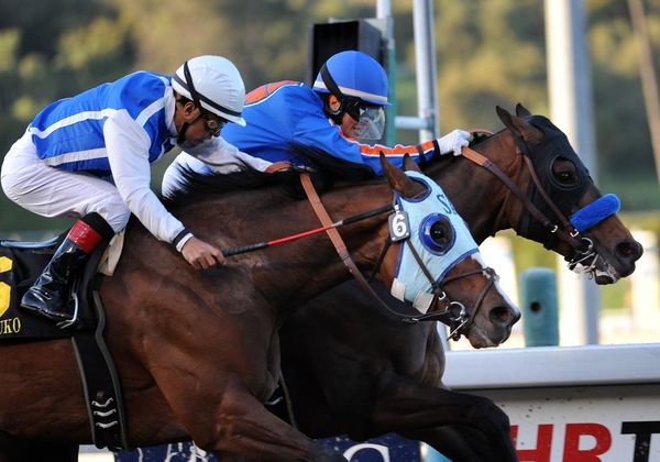 March 5, 2012.Game On Dude riden by Chantal Sutherland and Setsuko riden by Victor Espinoza race to the finish line in The Santa Anita Handicap at Santa Anita Park, Game On Dude kept the lead and was declared the winner after a stewards review of the stretch run.