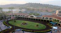 29 August 2009: Del Mar Thoroughbred Club. Morning fog over the paddock at Del Mar Race Track, Del Mar, CA