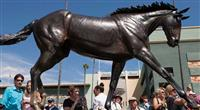September 29, 2012. The unveiling of the Zenyatta statue at Santa Anita Park.