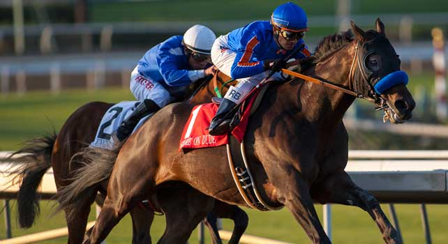 September 29, 2012.Game On Dude and Rafael Bejarano win the Awesome Again Stakes(GI) at Santa Anita Park.
