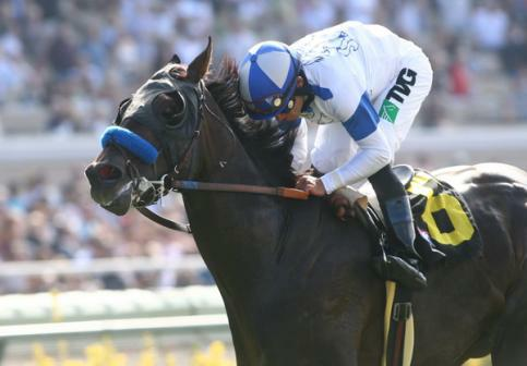 September 05 2010. Twirling Candy and Joel Rosario win the Del Mar Derby(GII) at Del Mar Race Track in Del Mar CA.