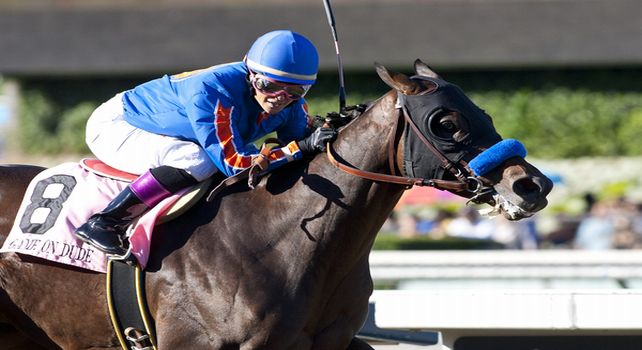 Game On Dude and Chantal Sutherland win the Goodwood Stakes(GI)at Santa Anita in Arcadia, CA. October 01, 2011