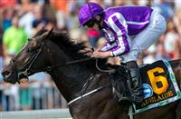 Adelaide wins the Secretariat stakes at Arlington Park, jockey Ryan Moore, trainer Aidan O'Brien, for owner Coolmore