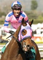 Ashleyluvssugar and Gary Stevens after their win in the G2 San Luis Rey Stakes.