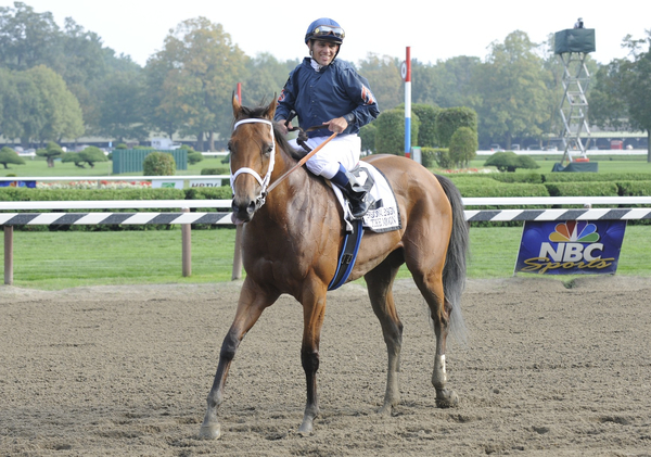Ask the Moon with Javier Castellano aboard after winning the Grade 1 Personal Ensign at Saratoga Race Track.