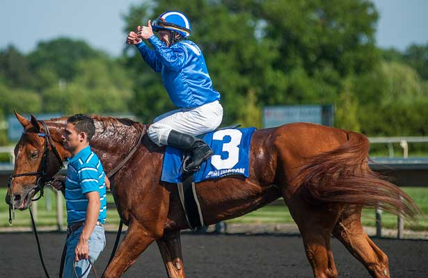 Ausus with James Graham aboard won the Modesty H. grade 3 stakes race Saturday afternoon at Arlington Park in Illinois. 923130713010.JPG