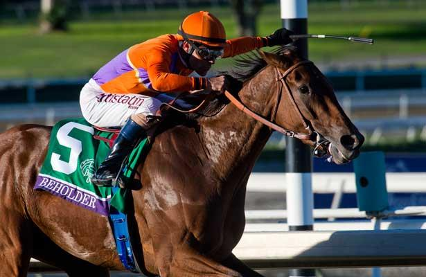 Beholder , ridden by Gary Stevens, and trained by Richard Mandella wins the Breeders' Cup Distaff (G1) on November 1, 2013 at Santa Anita Park in Arcadia, California during the 30th running of the Breeders' Cup.