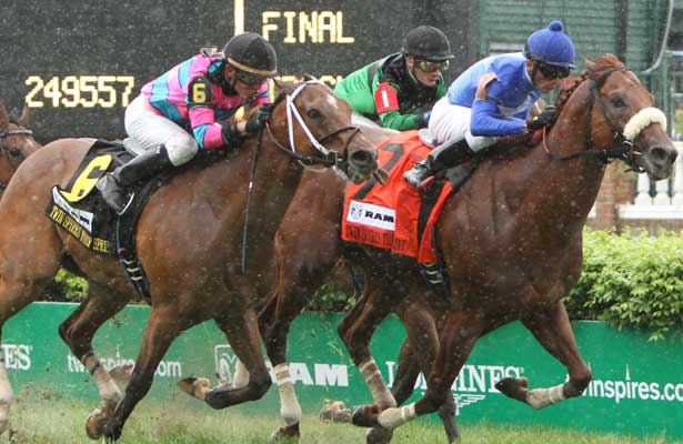 Berlino Di Tiger (BRZ) with Leandro Goncalves holds off a late charging Chamberlain Ridge wins the 19th running of the Grade III Twins Spires Turf Sprint for 4-year olds & up, going 5 furlongs on the turf, at Churchill Downs.