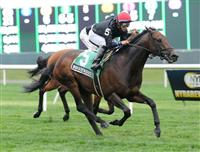 Boisterous and jockey Alan Garcia winning the Grade 3, $150,000 Fort Marcy at Belmont Park.