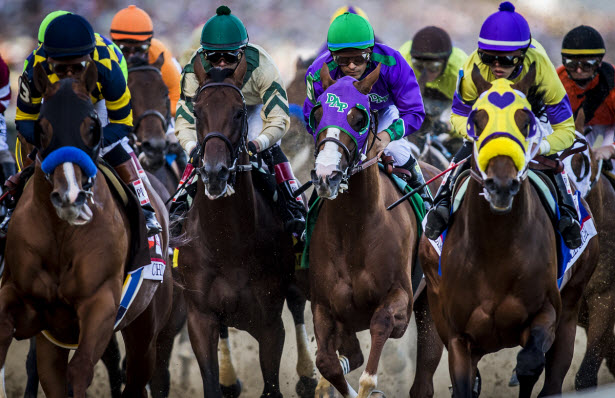 California Chrome breaks from the gate in the 2014 Kentucky Derby.