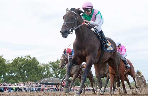 Close Hatches, ridden by Mike Smith, wins the Cotillion Stakes on Pennsylvania Derby Day at Parx Racing in Bensalem, Pennsylvania on September 21, 2013.