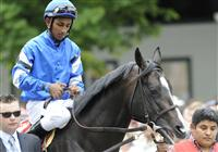 Colony in the paddock with Rajiv Maragh up before the 2009 Bernard Baruch