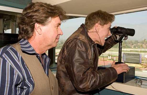 Conan O'Brien calls race at Santa Anita Park.
