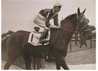 """Fencing"" a Kentucky Derby candidate with jockey Lester A Balaski May 8th, 1937"
