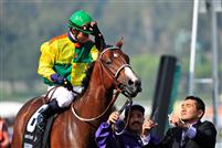 Dancing In Silks and jockey Joel Rosario after capturing the 2009 Breeders' Cup Sprint