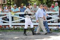 Dylan Davis and father Robbie Davis in the paddock at Saratoga Race Course.