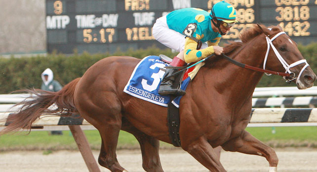 Eskendereya romps home in the 2010 Wood Memorial by 9 3/4 lengths