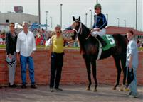 Fast Freight's winner's circle photo from his Prairie Meadows Maiden Special Weight win