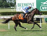 Funfair breaks maiden on Belmont turf.