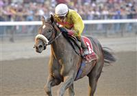 Grace Hall wins the 120th running of the Grade 1 Spinaway Stakes at Saratoga Race Track with jockey Ramon Dominguez.