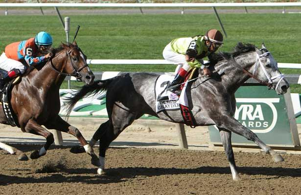 Graydar with Edgar Prado aboard wins the $400,000 Grade II Kelso Handicap for 3-year olds & up, going 1 mile on the dirt, at Belmont Park. Trainer Todd Pletcher Owners: Twin Creeks Racing Stables LLC