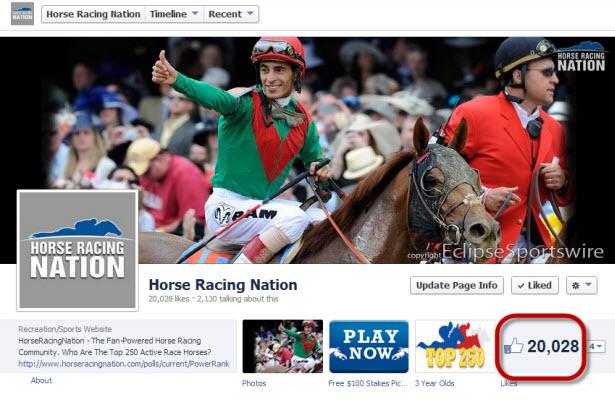 Horse Racing Nation hit 20,000 Facebook fans
