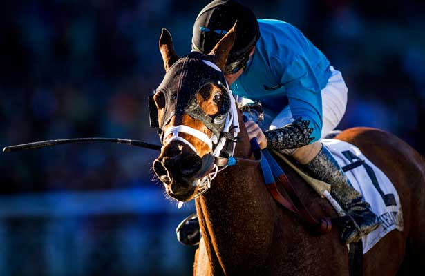Heir Kitty with Gary Stevens up defeats Sweet Lulu and Rafael Bejarano to win the La Brea Stakes at Santa Anita Park on Opening Day, December 26th, 2014 in Arcadia CA. (Alex Evers/ Eclipse Sportswire)