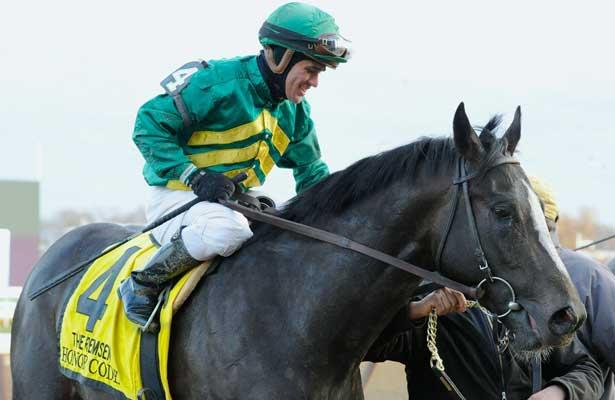 Honor Code (no. 4), ridden by Javier Castellano and trained by Claude McGaughey III, wins the 100th running of the grade 2 Remsen Stakes for two year olds on November 30, 2013 at Aqueduct Race Track in Ozone Park, New York. (Bob Mayberger/Eclipse Sportswire)