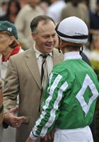 Trainer Ian Wilkes after Capt. Candyman Can won the Hutcheson under Julien Leparoux