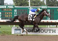 Intense Holiday winning a Maiden Special Weight race at Monmouth Park.