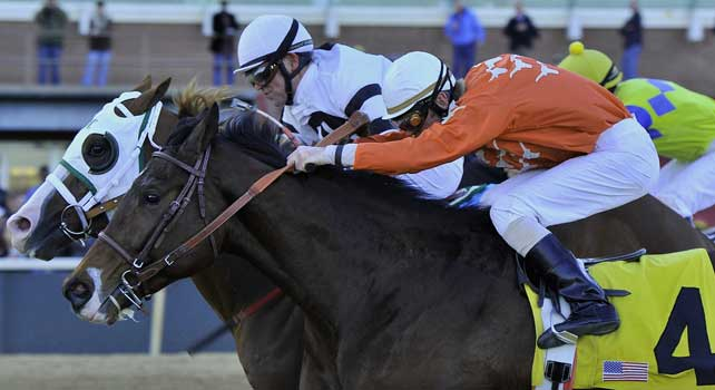 Jan.21, 2013 - Hot Springs, Arkansas, U.S - Jon Court and Will Take Charge (left), edged #4 Texas Bling, ridden by Cliff Berry, to win the 6th running of the Smarty Jones Stakes Saturday afternoon at Oaklawn Park. (Credit Image: © Jimmy Jones/Eclipse/ZUMAPRESS.com)