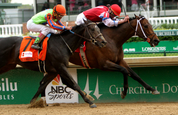 Moonshine Mullin wins the Alysheba stakes with Calvin Borel at Churchill Downs.