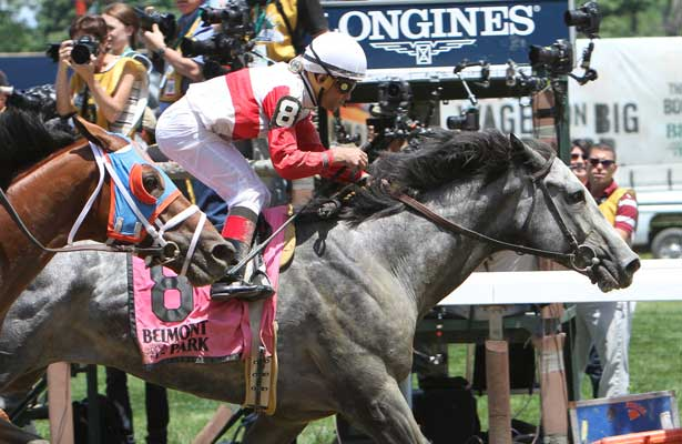 "June 7, 2014: Norumbega with Joel Rosario win the Grade II Brooklyn Invitational Stakes for 4-year olds & up, going 1 1/2 mile at Belmont Park. Trainer: Claude ""Shug"" McGaughey. Owner: Chester Broman, Sr. . Sue Kawczynski/ESW/CSM"