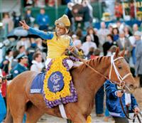 Open Mind, Angel Cordero, Jr., up, after winning the Breeders' Cup Juvenile in 1988