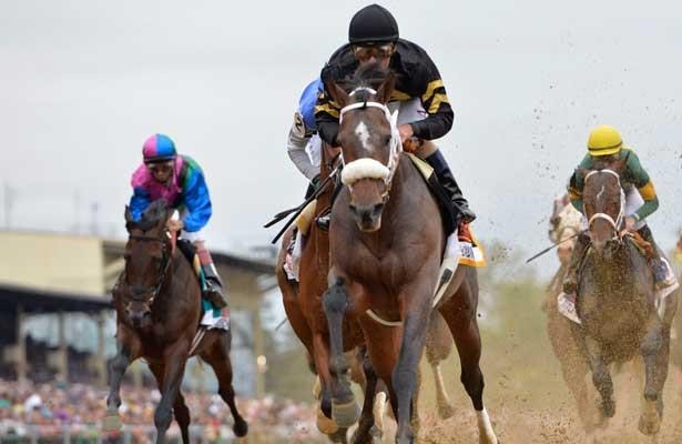 Oxbow, ridden by Gary Stevens, wins the Preakness Stakes on Preakness Day at Pimlico Race Course in Baltimore, Maryland on May 18, 2013.