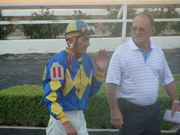 September 15, 2009: Jockey E J Perrodin with trainer Pat Mouton at Louisiana Downs.