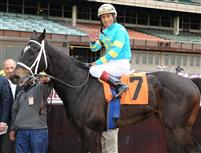 Hall of Fame jockey Edgar Prado aboard Budget, his fifth winner on Thursday at Aqueduct Racetrack.