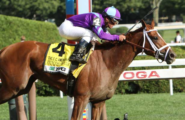 Princess of Sylmar with Javier Castellano win the Grade I Coaching Club American Oaks for 3 year old fillies going 1 1/8 mile, at Saratoga Racetrack. Trainer Todd Pletcher Owners King of Prussia Stable