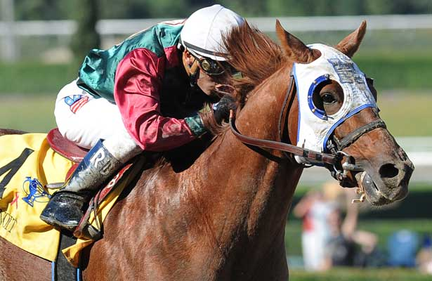 Oct. 29, 2011.Rousing Sermon ridden by Rafael Bejarano approaching the finish line and winning the Bob Benoit California Cup Juvenile Stakes at Santa Anita Park, Arcadia, CA