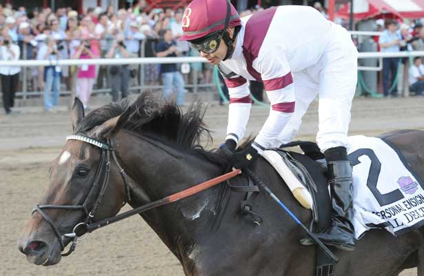 Royal Delta (no. 2), ridden by Mike Smith and trained by Bill Mott, wins the 64th running of the grade 1 Personal Ensign Invitational Stakes for fillies and mares three years old and upward on August 25, 2013 at Saratoga Race Course in Saratoga Springs, New York. (Bob Mayberger/Eclipse Sportswire)